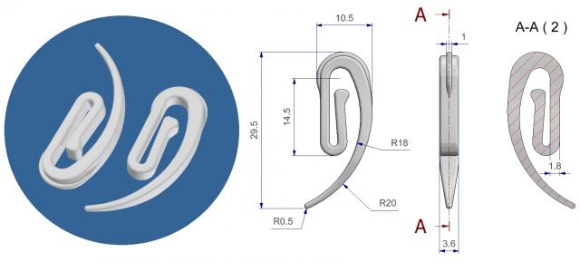 Curtain tape hook ROMA