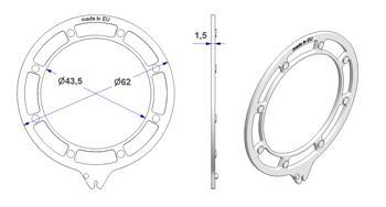 Ghiera ONDA d 43x62 mm con perni per anello occhiello