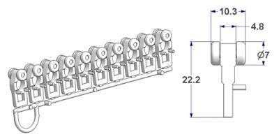 Glider with longitudinal eyelet and roller, with side pins, height 22 mm, for -U- rail (strip of 10 pieces)