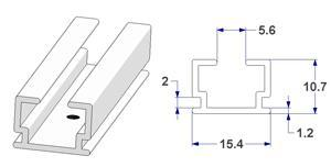 -U- rail 15x10 mm, with drill holes (lengths of 240 cm)