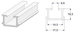 -U- rail 18x10 mm with tabs, for pelmets (lengths of 240 cm)