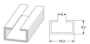 -U- rail 17x9 mm, for curtain poles (lengths of 240 cm)