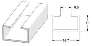 -U- rail 17x10 mm, for curtain poles (lengths of 240 cm)