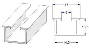 -U- rail 19x10 mm, for curtain poles (lengths of 240 cm)