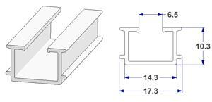 -U- rail 18x10 mm with wings, for curtain poles (lengths of 240 cm)
