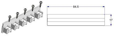 End cap for 5 way profile, with screws