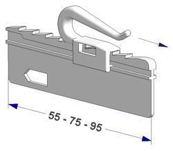 Adjustable sew-in hook 55 mm