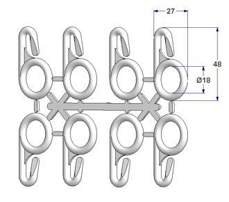 Ring 48x27 mm with open eyelet (strip with 8 rings)