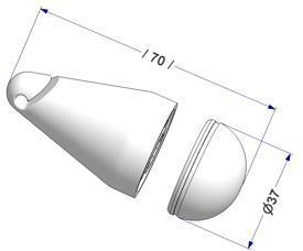 Contrepoids ovale d 37x70 mm, démonté, sans insert