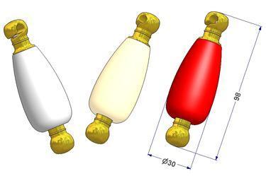 Contrepoids saturne d 30x98 mm, 60 g, avec pièces finales métallisées or
