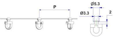 Corda G3 con perno d 2,0 mm, passo -P- 60 mm montata con scorrevole tondo girevole G3, nucleo d 3,3 mm, testa d 5,3 mm, per binario -U-, avvolta da pellicola protettiva