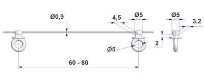 Cordón con corredera G6, núcleo 3,2x4,5 mm, cabeza d 5 mm, con ojal longitudinal, distancia 80 mm, para riel en -U-
