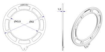 Ghiera ONDA d 43x62 mm per anello occhiello