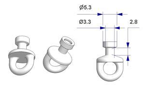 Scorrevole tondo girevole G2, nucleo d 3,3 mm, testa d 5,3 mm, per binario -U-