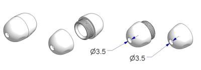 Breakaway olive cord connector d 12x18 mm screwable, holes d 3,5 mm, 1 g