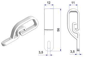 Passacorda Flex 12x56 mm, per fissaggio a parete o finestra