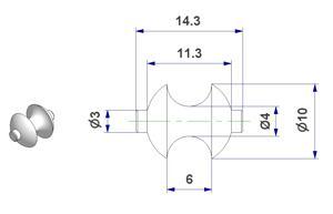 Roller d 04x10x14 mm