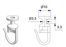 Scorrevole tondo girevole G2, con spilla, nucleo d 3,3 mm, testa d 10 mm, per binario -U-
