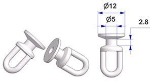 Scorrevole tondo girevole G2, nucleo d 5 mm, testa d 12 mm, altezza 20 mm, per binario -U-