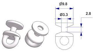 Scorrevole tondo girevole G2, nucleo d 3,3 mm, testa d 10 mm, per binario -U-