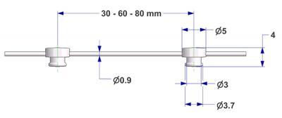 Corda G2 con perno d 3,7 mm, passo 30 mm