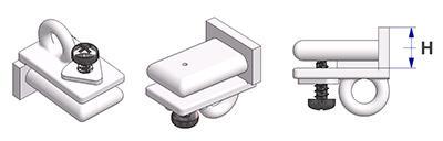 Tope final con ojal longitudinal y tornillo montado, para perfil -U-, altura -H- 8 mm