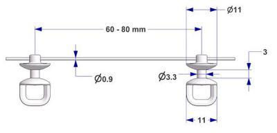 Corda con scorrevole tondo G1, nucleo d 3,3 mm, testa d 11 mm, passo 60 mm, per binario -U-