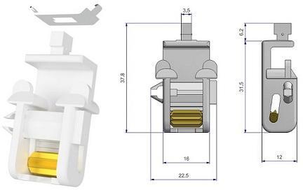 Scendicorda autobloccante con piastrina - Self-blocking cord pulley with metal plate